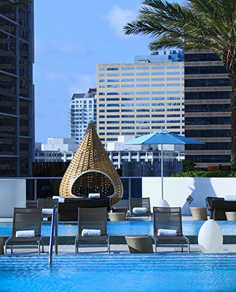 Rooftop pool with cabana